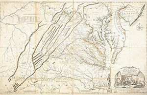 <em>A Map of the most inhabited part of Virginia</em> (1755) by Joshua Fry and Peter Jefferson