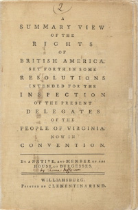 title page of <em>A Summary View of the Rights of British America</em> (1774)