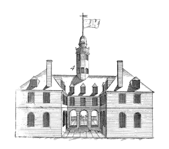 Detail of Capitol, modern impression taken from the original 1740s copperplate now in 	the collection of the Colonial Williamsburg Foundation, image # 78-654 [Bodleian Plate re-strike]