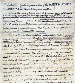 Jefferson's draft of the Declaration of Independence