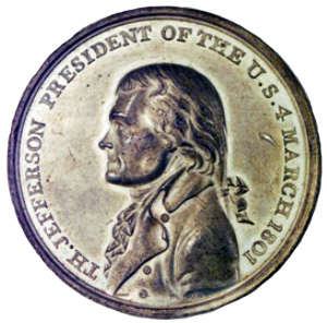 commemorative medal of Jefferson's inauguration, designed by John Reich