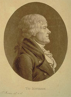 Engraving of Jefferson (1804)  by Charles Fevret de Saint -Mémin