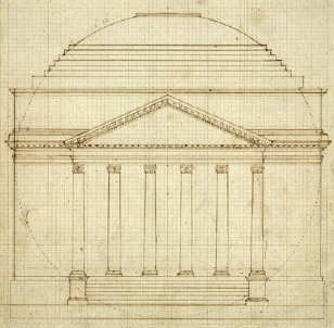 Jefferson's sketch of the Rotunda at the University of Virginia:  South Elevation of Rotunda, Ink and pencil drawing, N328, Thomas Jefferson Architectural Drawings