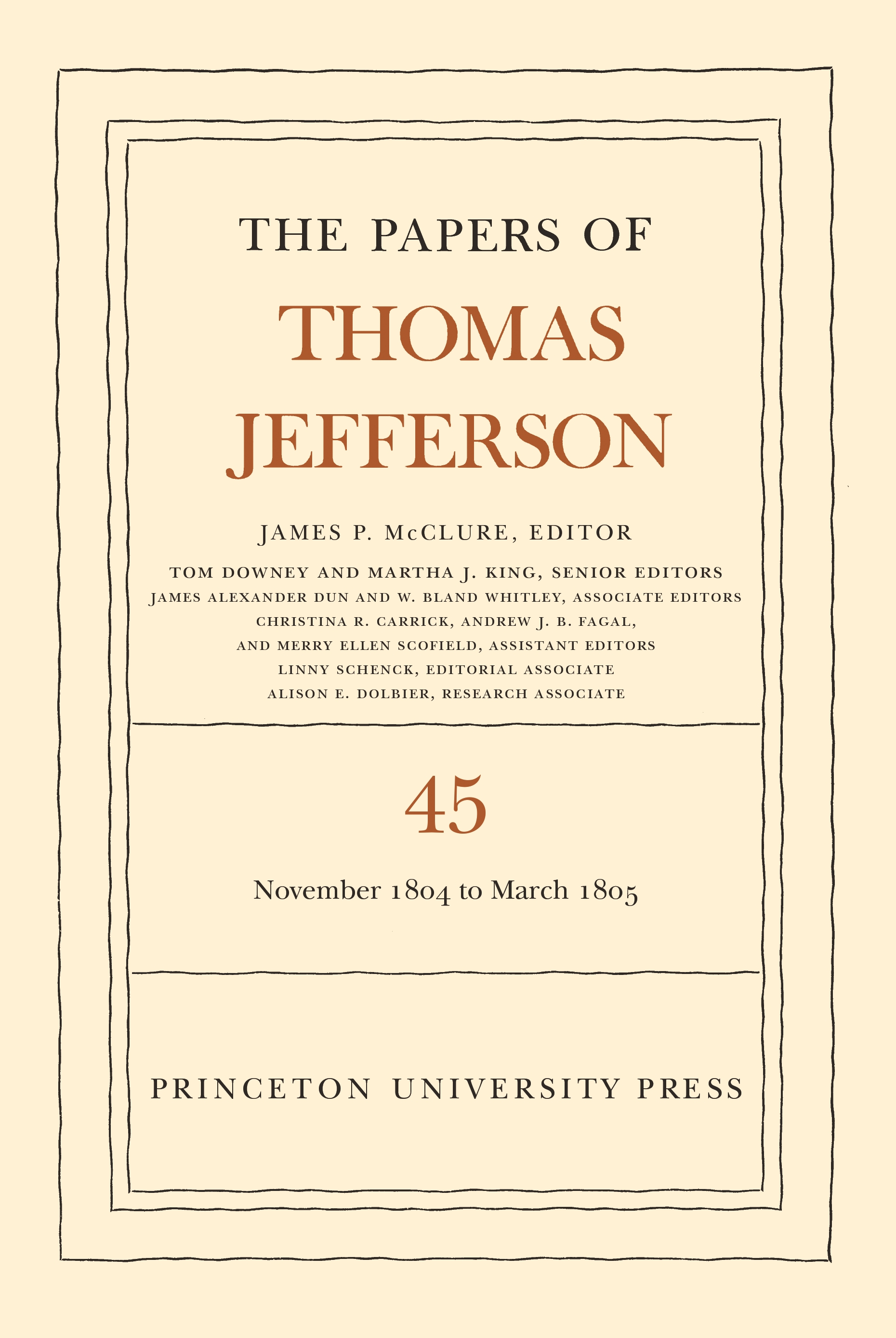 Volume 45 cover Papers of Thomas Jefferson Vol. 45
