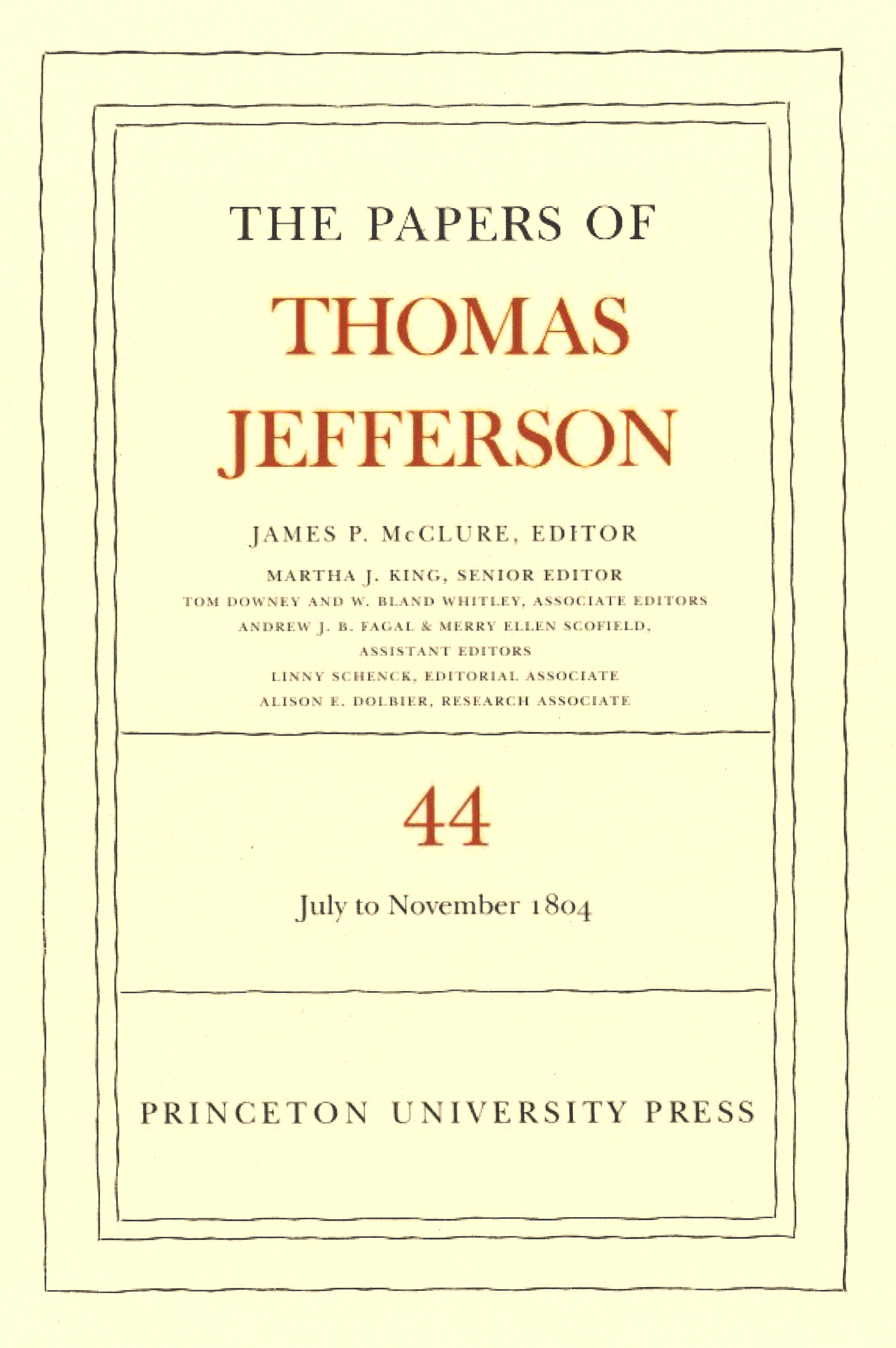 Volume 44 cover Papers of Thomas Jefferson